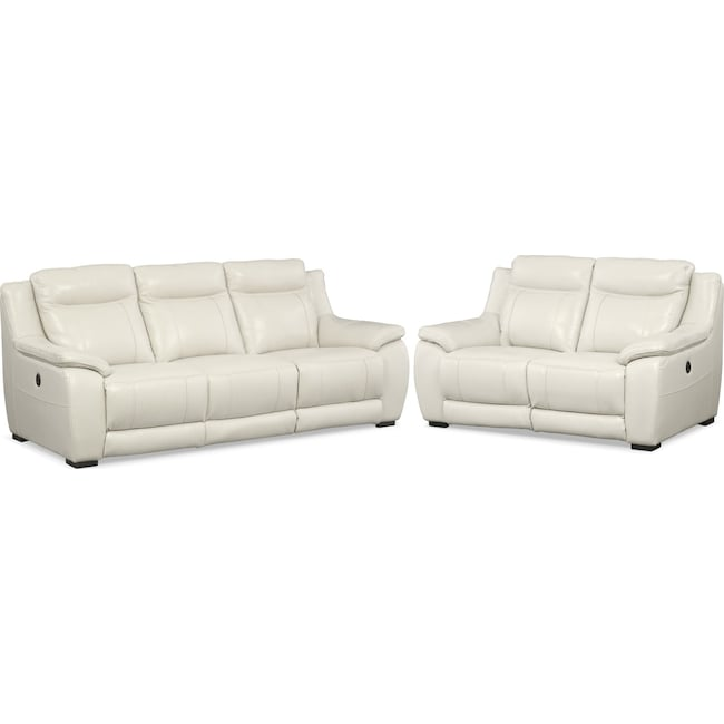 Living Room Furniture - Lido Power Reclining Sofa and Reclining Loveseat Set - Ivory