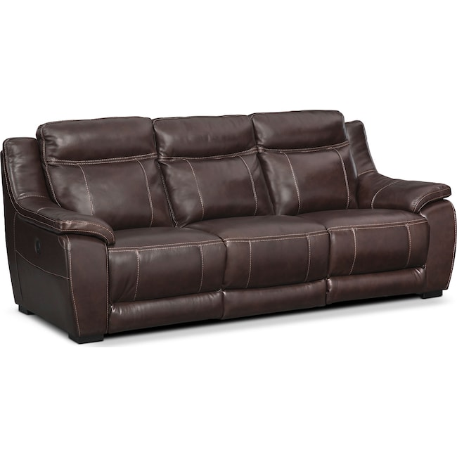 Living Room Furniture - Lido Power Reclining Sofa - Brown