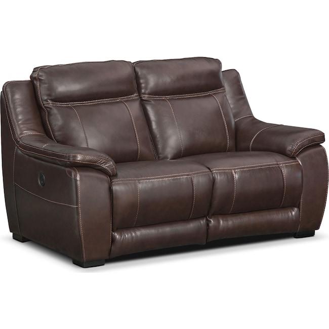 Living Room Furniture - Lido Power Reclining Loveseat - Brown