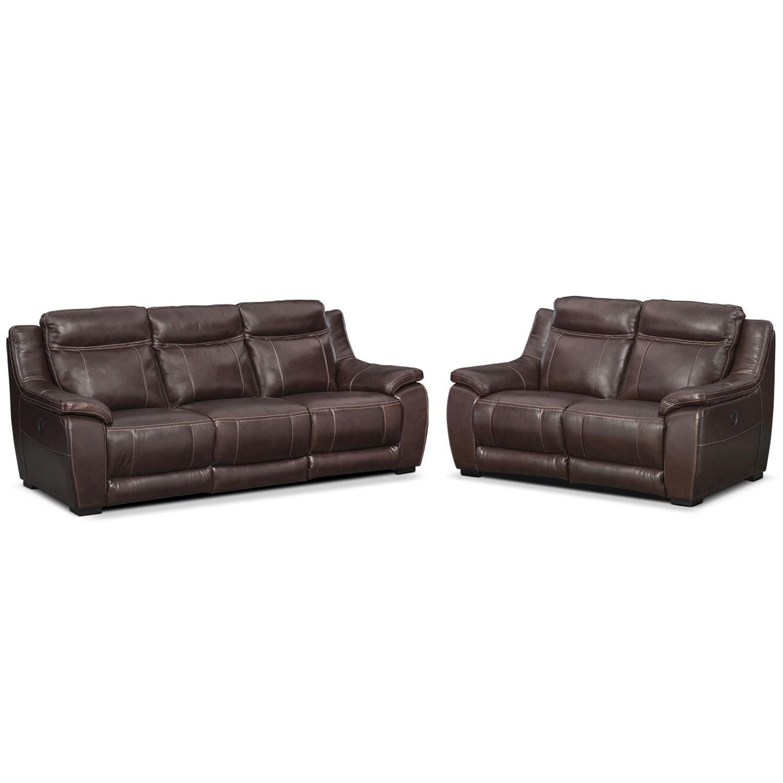 Lido Power Reclining Sofa And Reclining Loveseat Set Brown American Signature Furniture