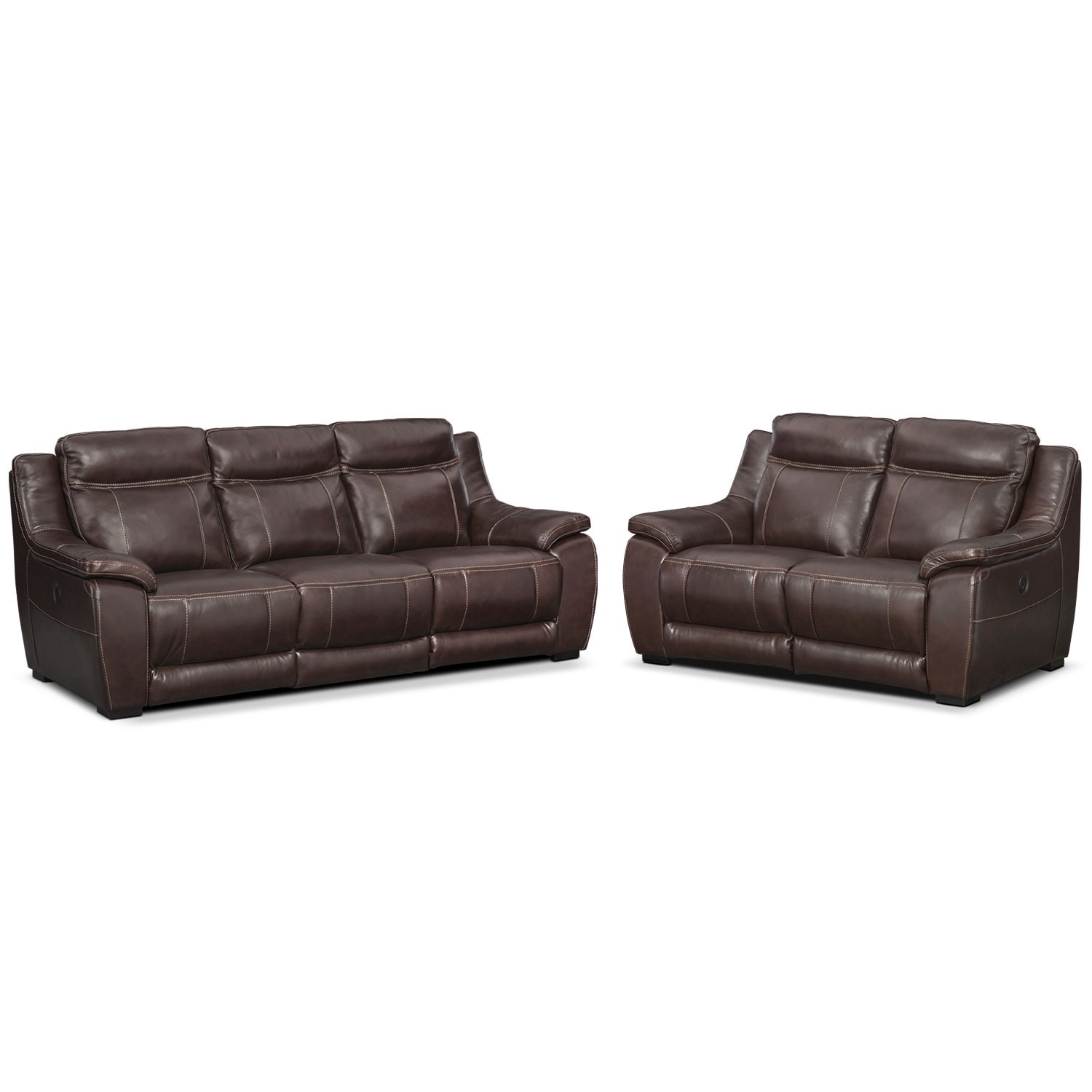 Living Room Furniture - Lido Power Reclining Sofa and Reclining Loveseat Set - Brown