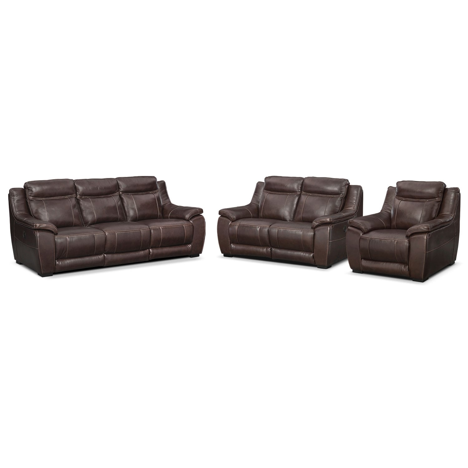 Living Room Furniture - Lido Power Reclining Sofa, Reclining Loveseat and Recliner Set - Brown