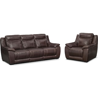 Lido Power Reclining Sofa and Recliner Set - Brown