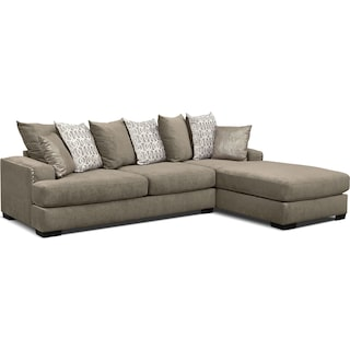 Tempo 2-Piece Sectional with Right-Facing Chaise - Platinum