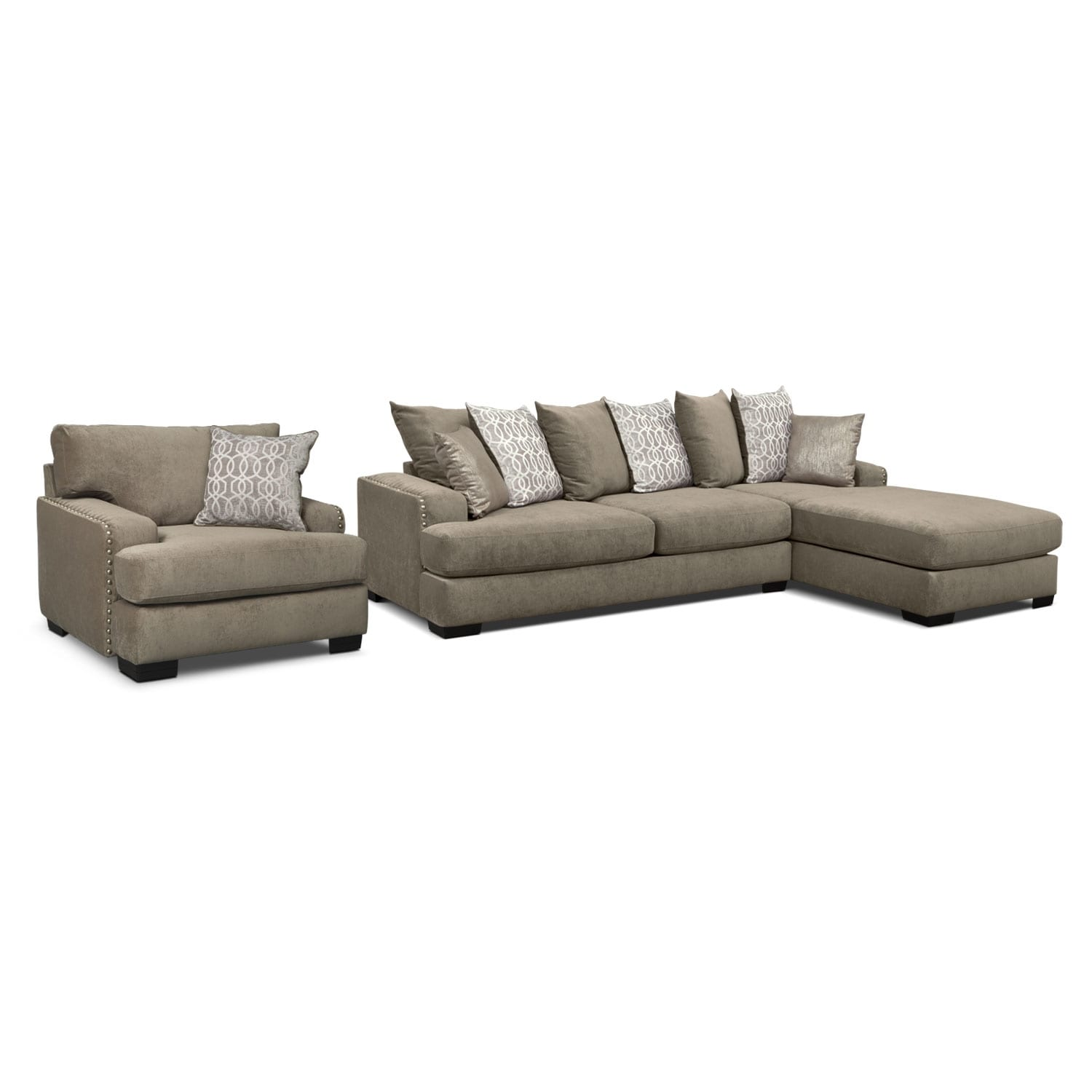Living Room Furniture - Tempo 2-Piece Sectional with Right-Facing Chaise and Chair Set - Platinum