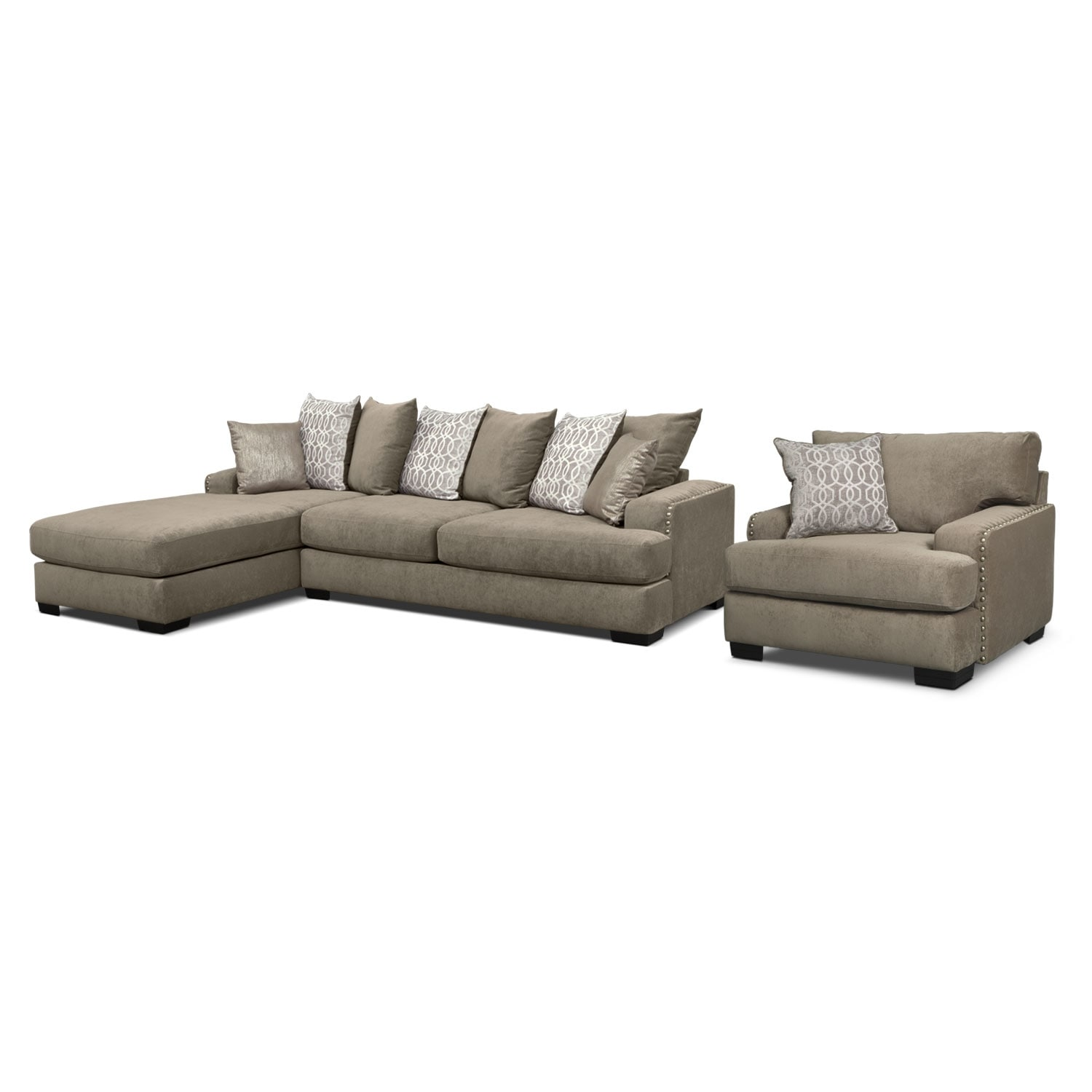 Living Room Furniture - Tempo 2-Piece Sectional with Left-Facing Chaise and Chair Set - Platinum
