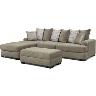 Tempo 2-Piece Sectional with Left-Facing Chaise and Ottoman Set - Platinum