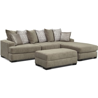 Tempo 2-Piece Sectional with Right-Facing Chaise and Ottoman Set - Platinum