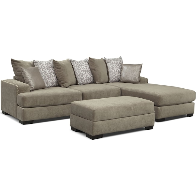 Living Room Furniture - Tempo 2-Piece Sectional with Right-Facing Chaise and Ottoman Set - Platinum