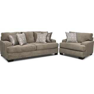 Tempo Sofa and Chair Set - Platinum