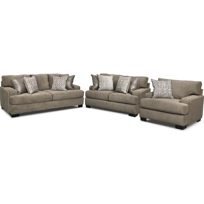 Living Room Furniture - Tempo Sofa, Loveseat and Chair Set - Platinum