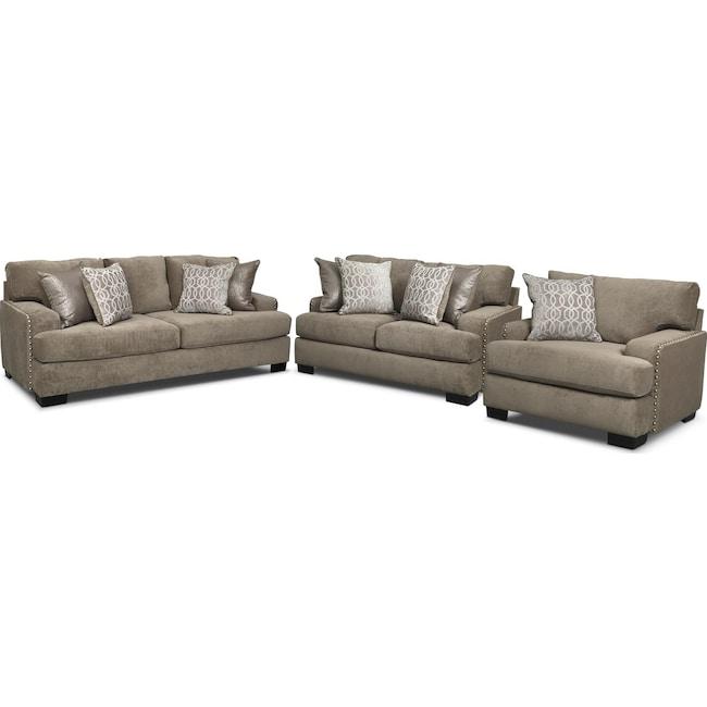 Living Room Furniture - Tempo Sofa, Loveseat and Chair Set - Platinum