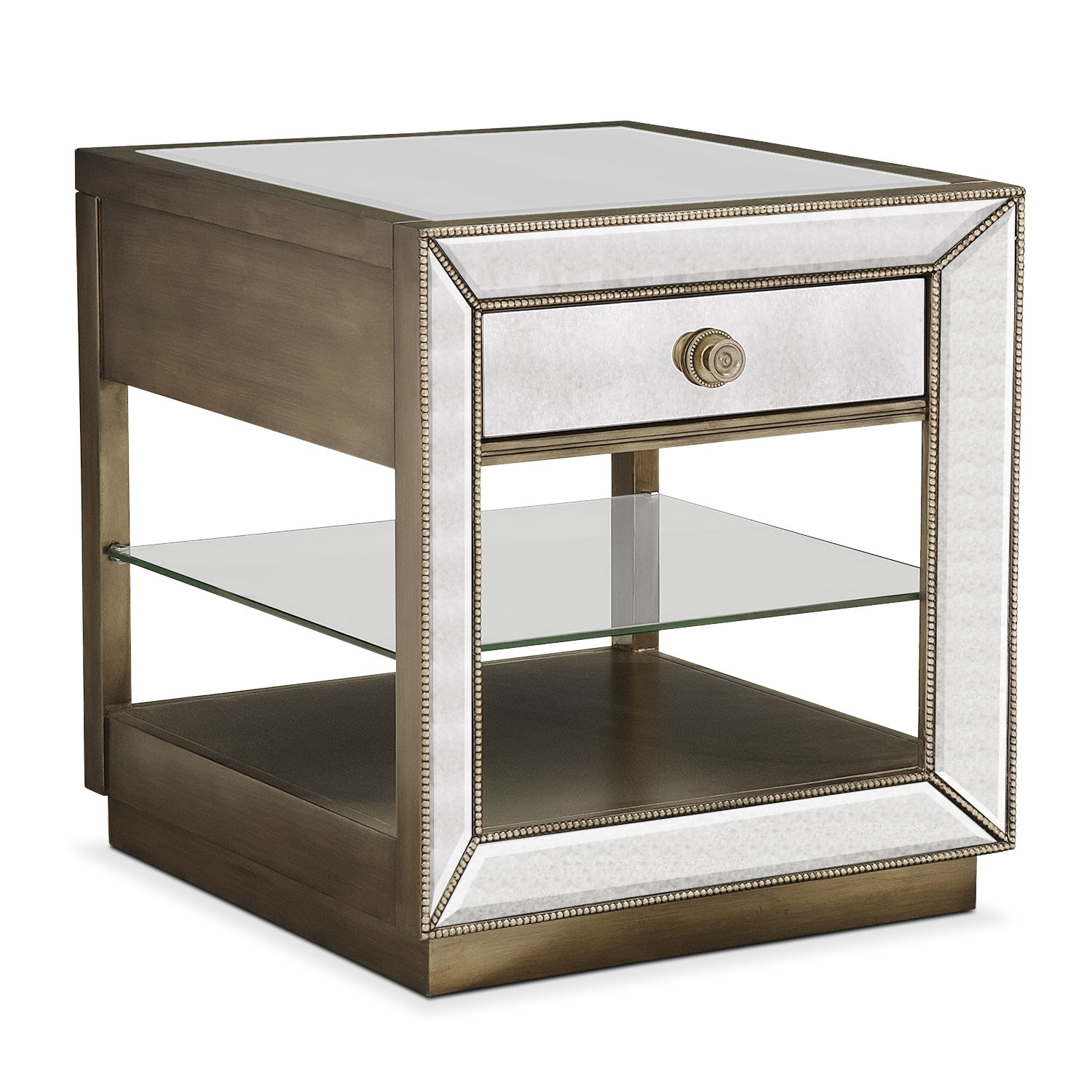 Accent and Occasional Furniture - Reflection End Table - Antiqued Mirror