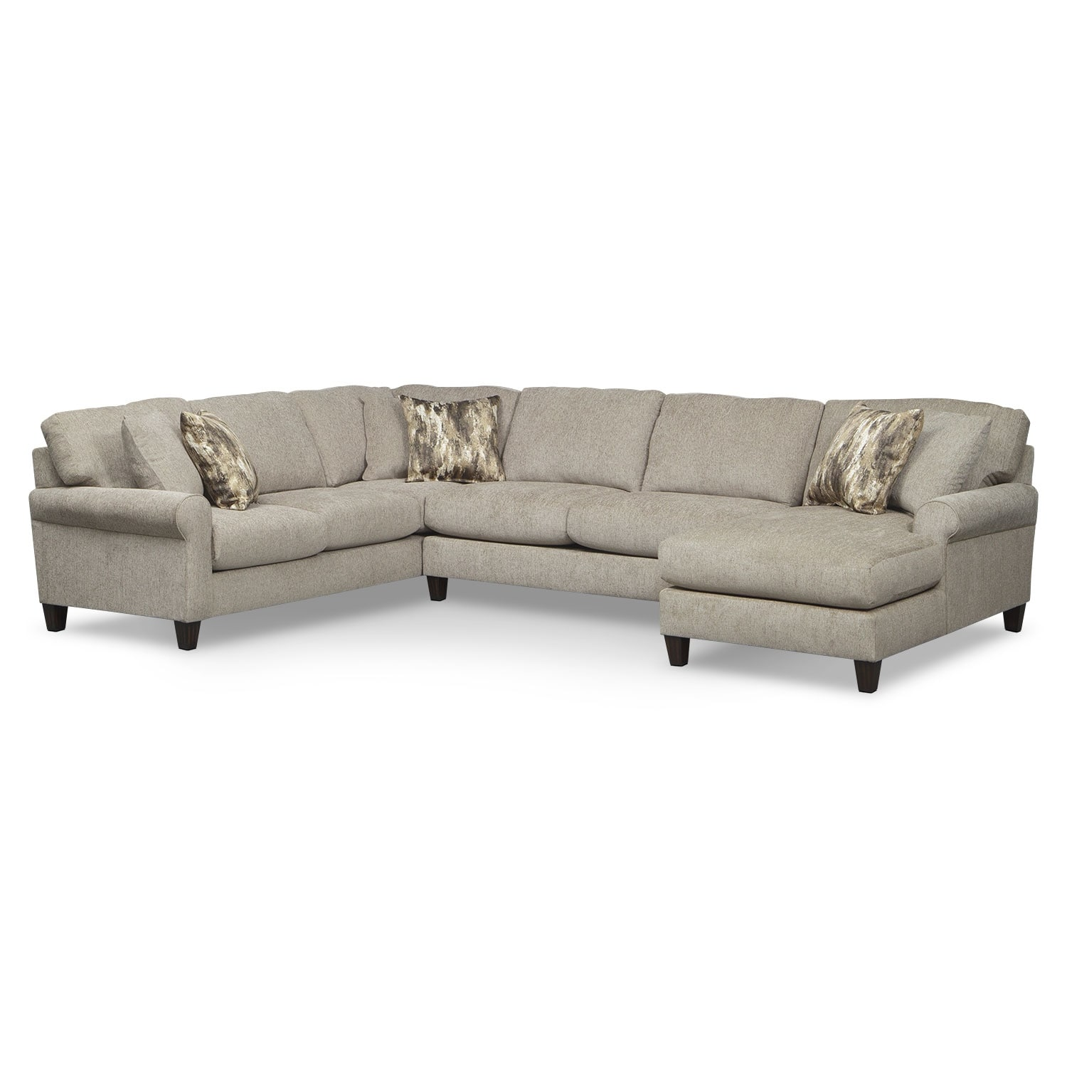 Living Room Furniture - Karma 3-Piece Right-Facing Sectional - Mink