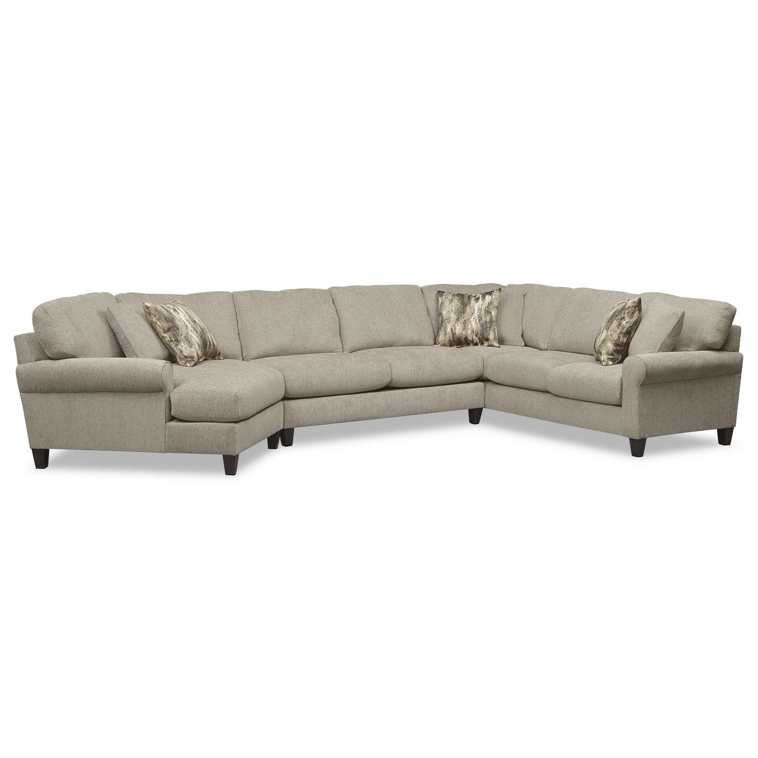 Karma 3-Piece Sectional with Left-Facing Cuddler - Mink