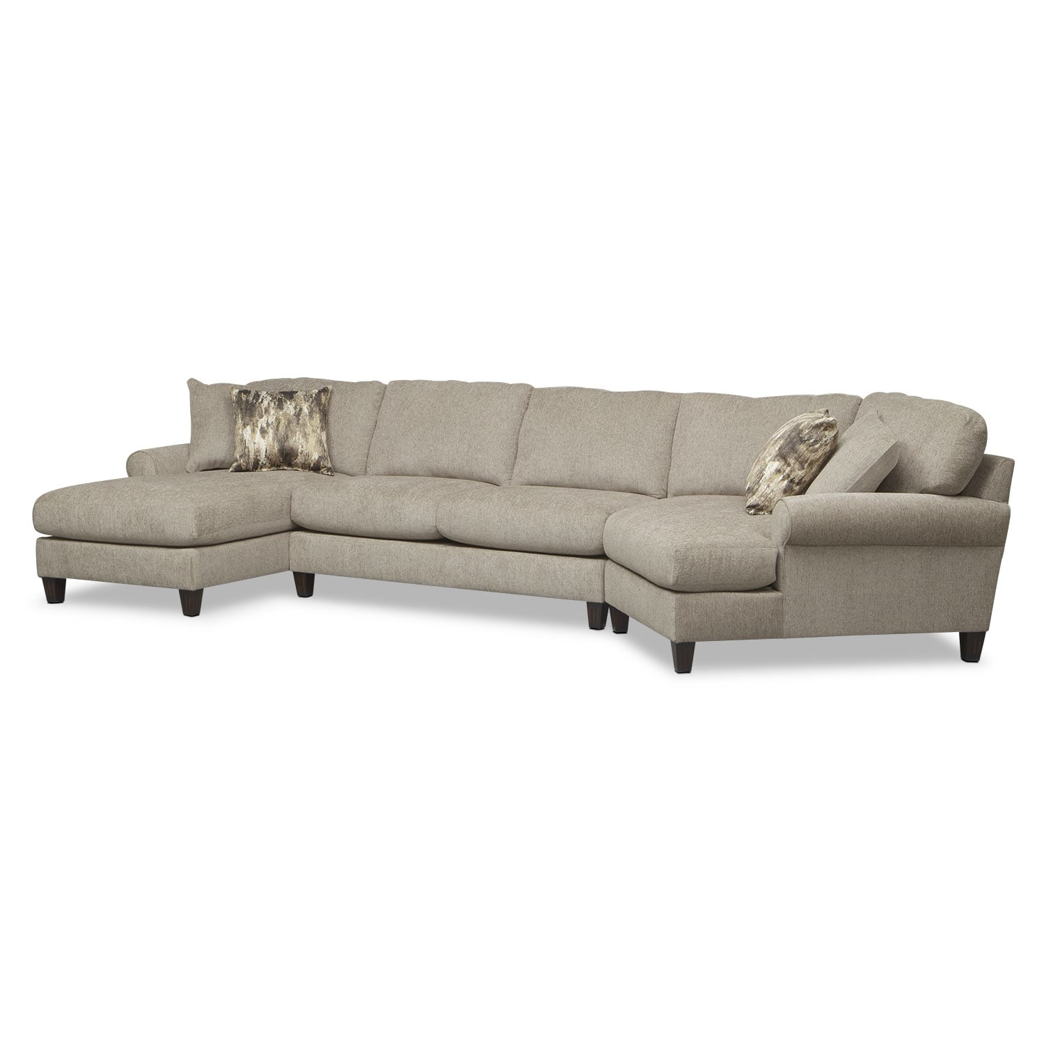 Living Room Furniture - Karma Mink 3 Pc. Sectional with Right-Facing Cuddler and Left