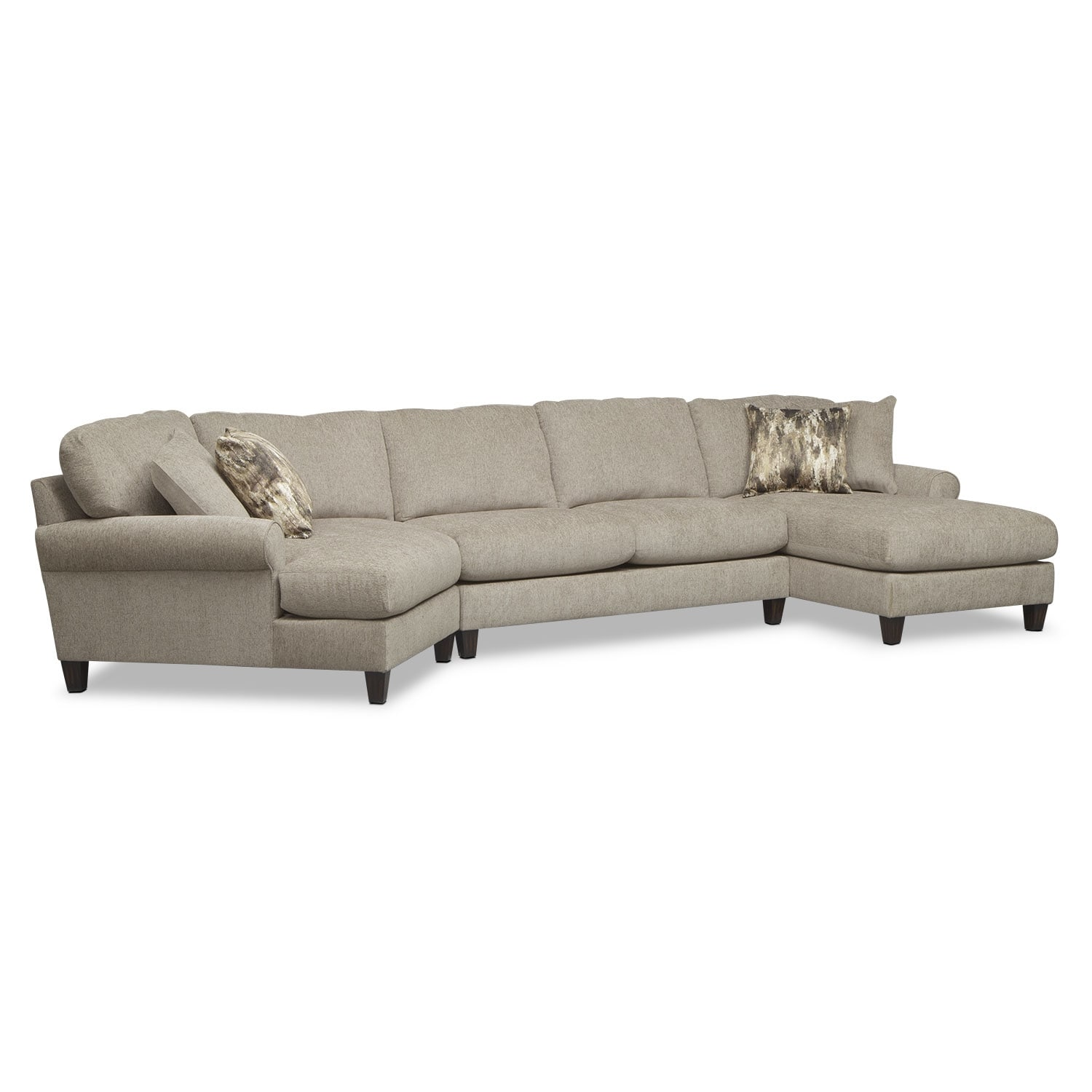 Karma 3-Piece Sectional with Left-Facing Cuddler and Right-Facing Chaise - Mink