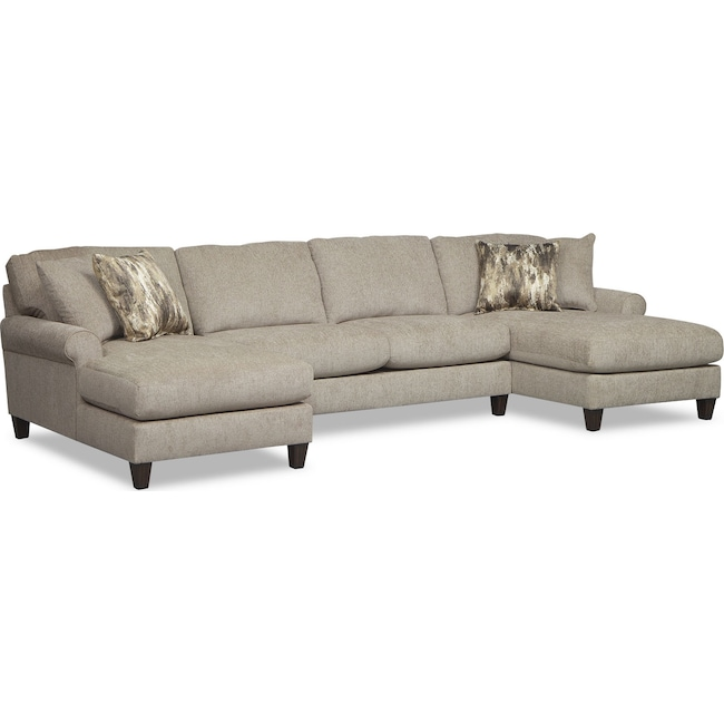 Living Room Furniture - Karma 3-Piece Sectional with 2 Chaises - Mink