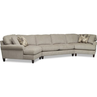 Karma 3-Piece Sectional with 2 Cuddlers - Mink
