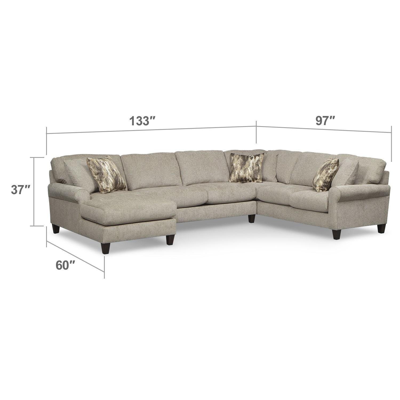 Living Room Furniture - Karma 3-Piece Left-Facing Sectional - Mink