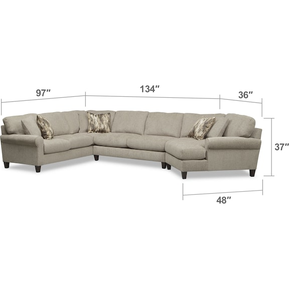 Living Room Furniture - Karma 3-Piece Sectional with Right-Facing Cuddler - Mink