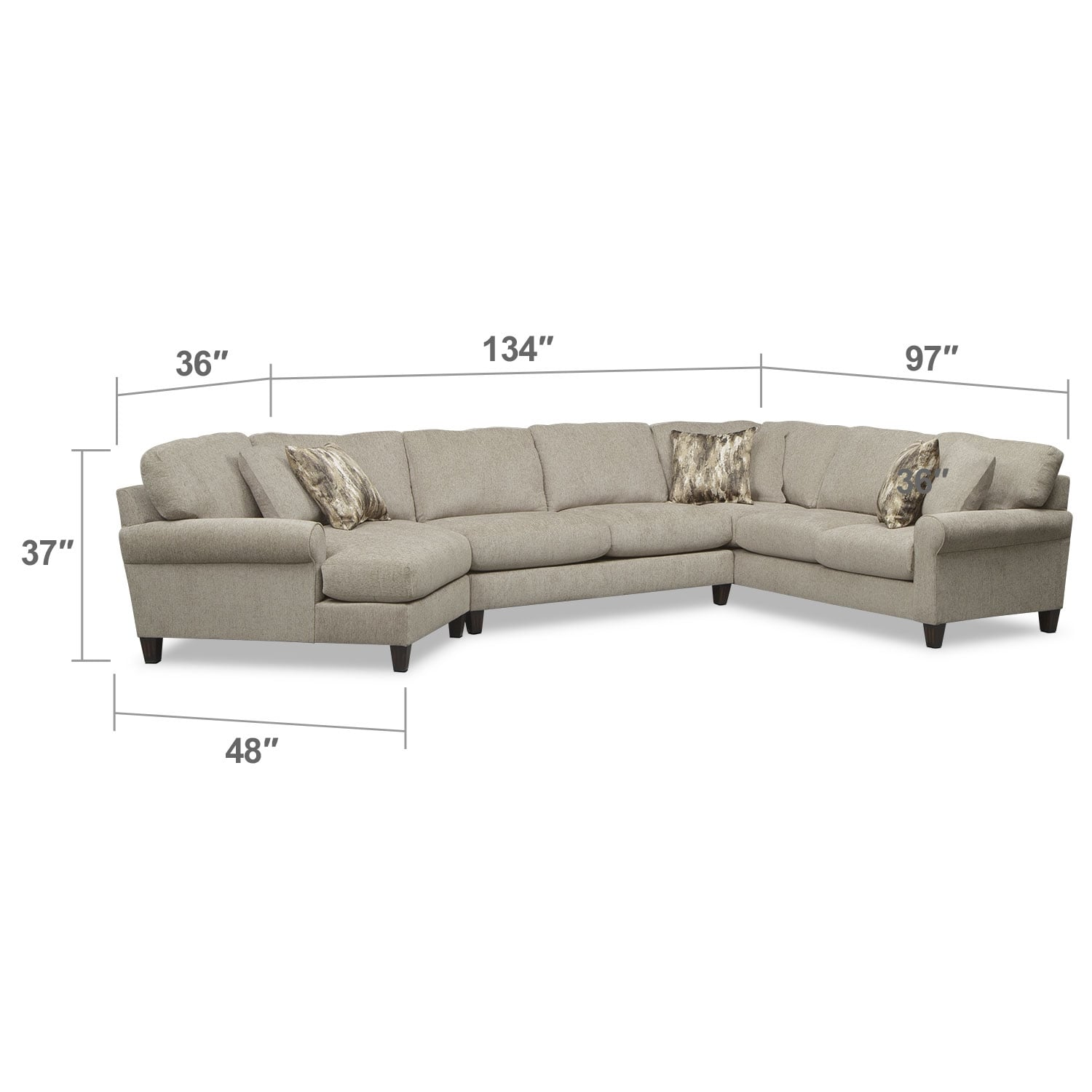 Living Room Furniture - Karma 3-Piece Sectional with Left-Facing Cuddler - Mink
