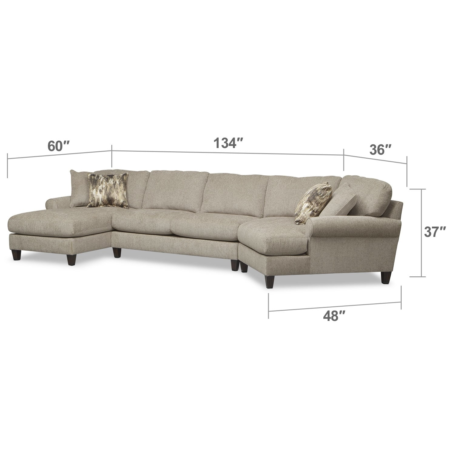 Karma 3 Piece Sectional With Right Facing Cuddler And Left