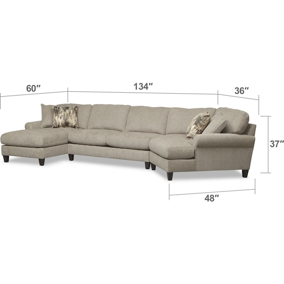 Living Room Furniture - Karma 3-Piece Sectional with Right-Facing Cuddler and Left-Facing Chaise - Mink