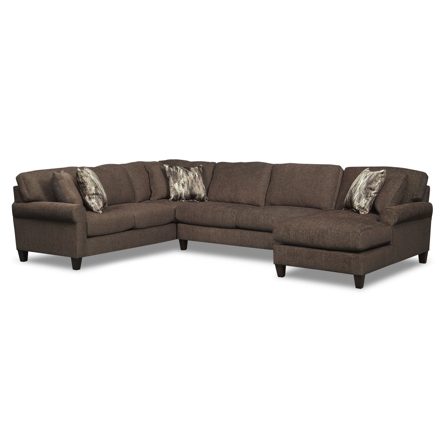 Living Room Furniture - Karma 3-Piece Right-Facing Sectional - Smoke