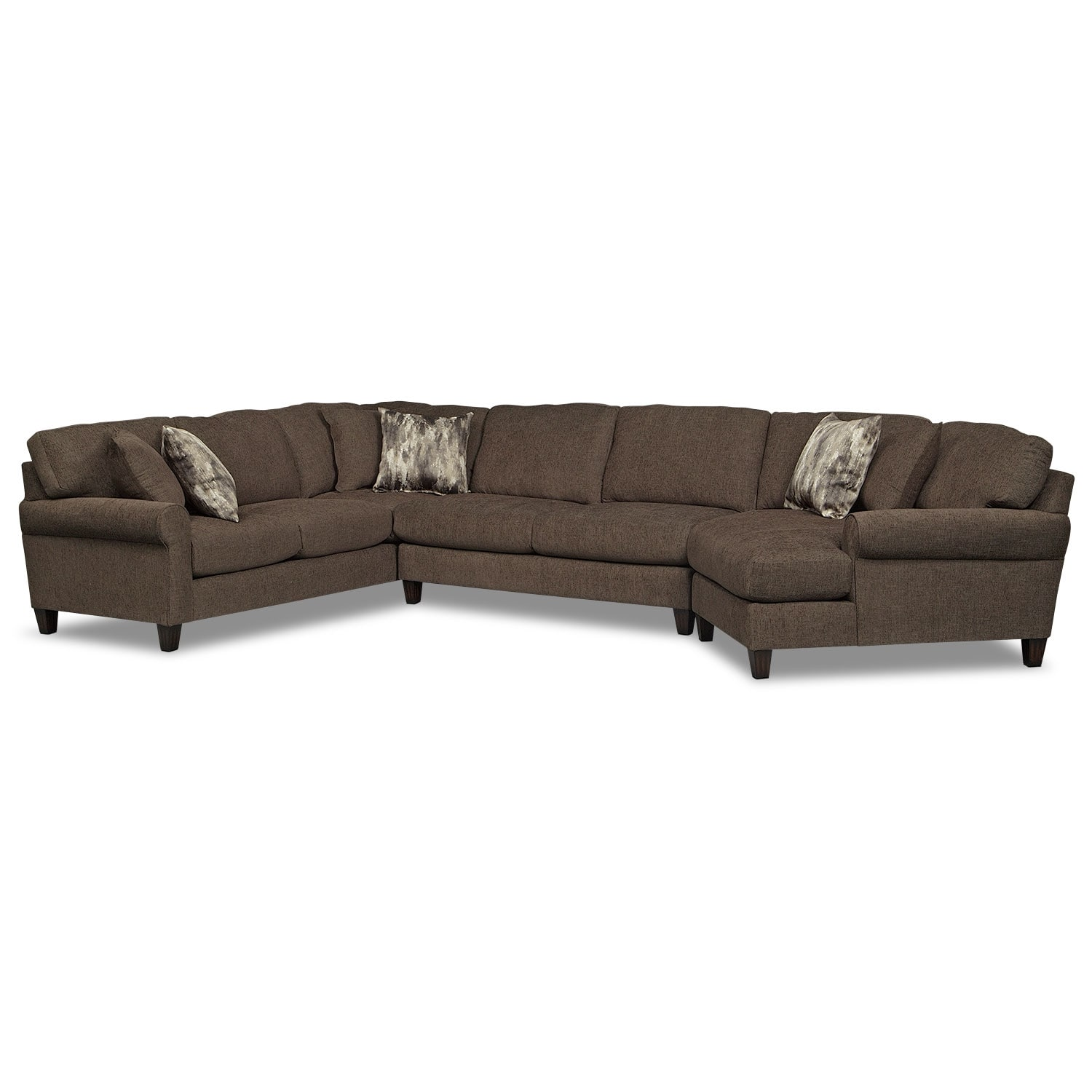 Karma 3-Piece Sectional with Right-Facing Cuddler - Smoke