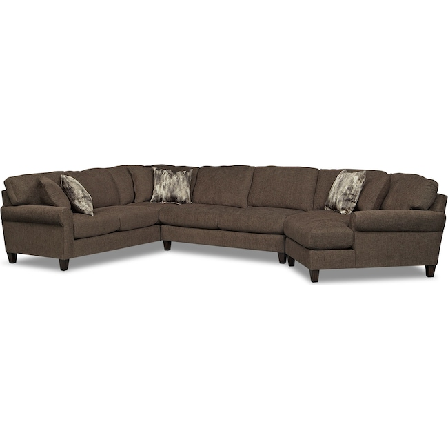 Living Room Furniture - Karma 3-Piece Sectional with Right-Facing Cuddler - Smoke