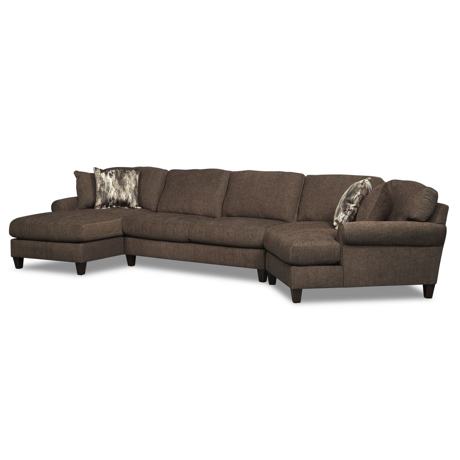 Karma 3-Piece Sectional with Left-Facing Chaise and Right-Facing Cuddler - Smoke