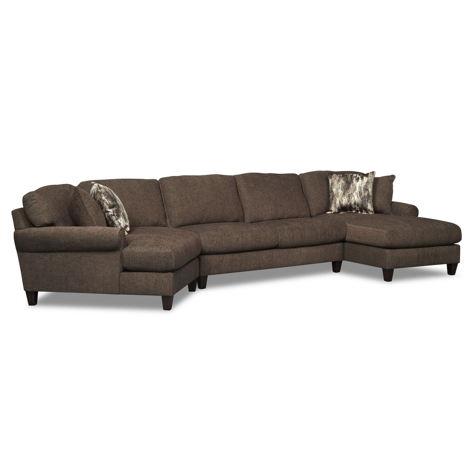 Sectional sofa with cuddler chaise patola park 3 cuddler for Sectional sofa with chaise and cuddler
