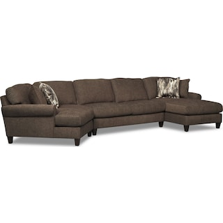 Karma 3-Piece Sectional with Right-Facing Chaise and Left-Facing Cuddler - Smoke