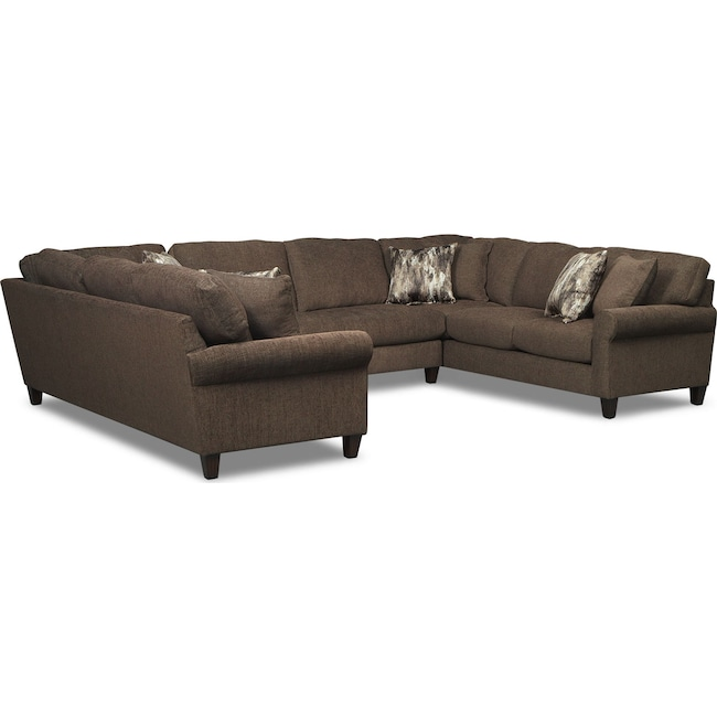 Living Room Furniture - Karma 3-Piece Sectional - Smoke