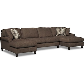 Karma 3-Piece Sectional with 2 Chaises - Smoke