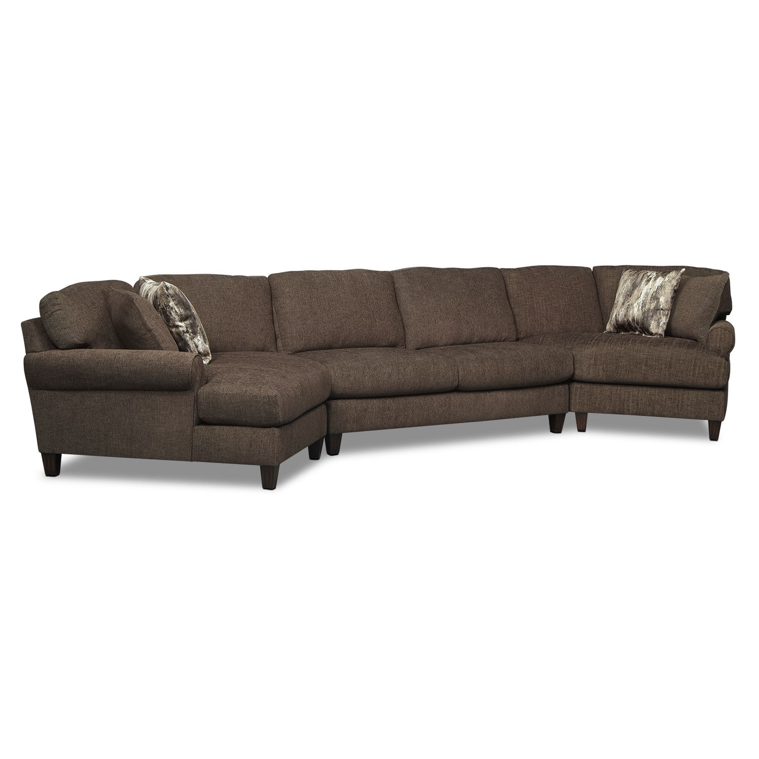 Karma 3-Piece Sectional with 2 Cuddlers - Smoke