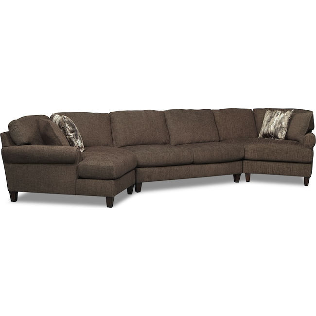 Living Room Furniture - Karma 3-Piece Sectional with 2 Cuddlers - Smoke