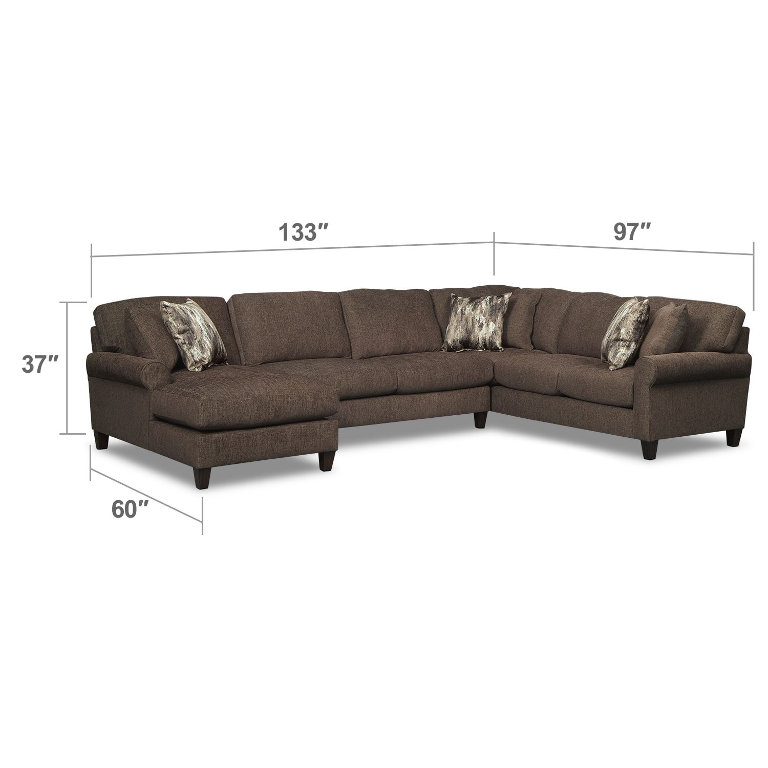 Living Room Furniture - Karma 3-Piece Left-Facing Sectional - Smoke