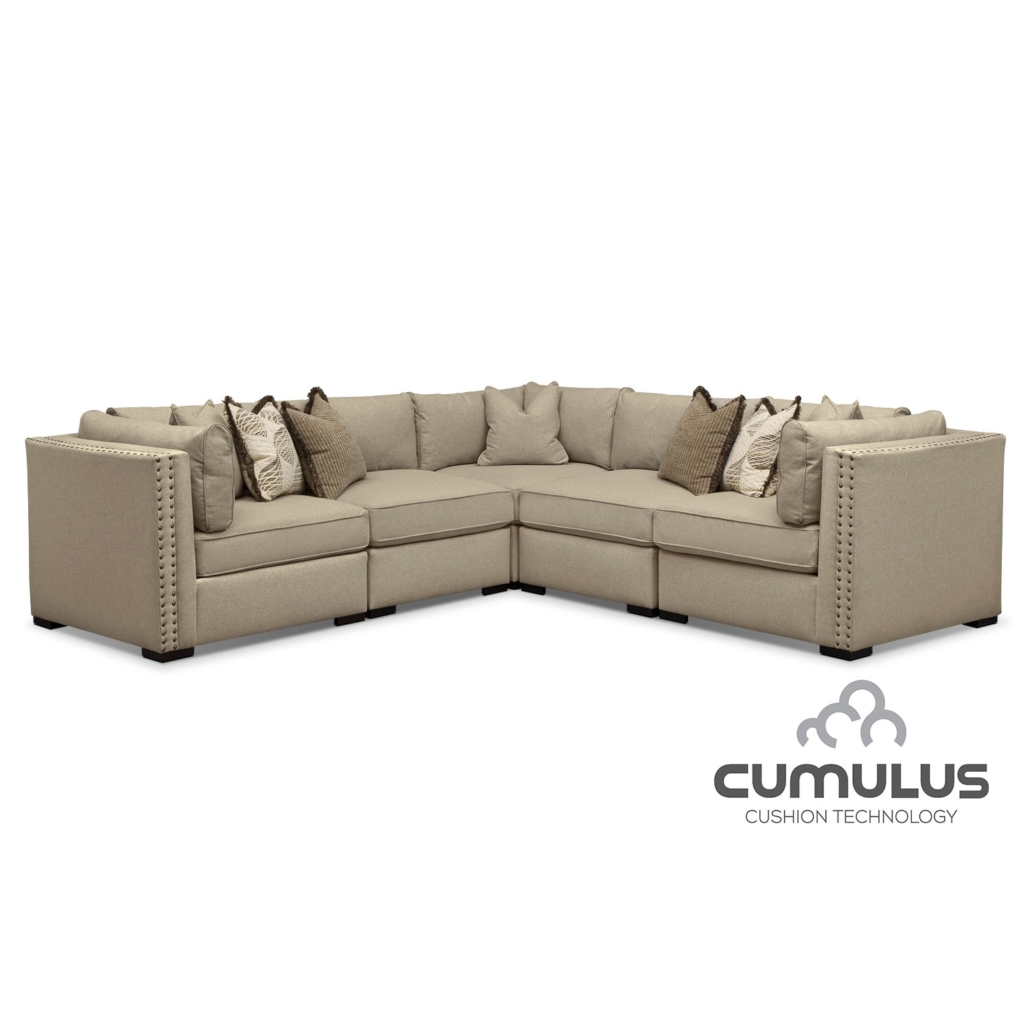 Living Room Furniture - Athens 5-Piece Sectional - Taupe