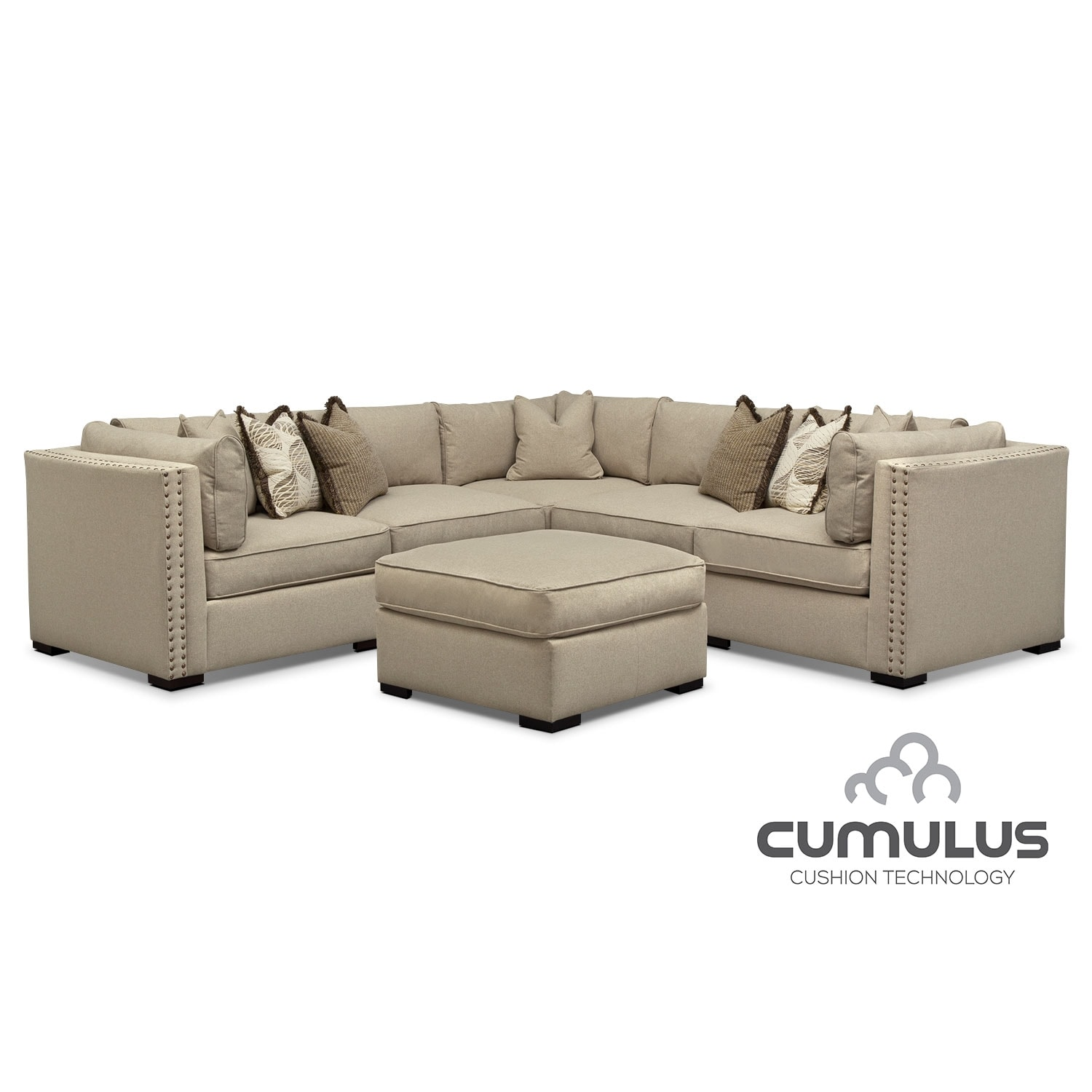 Athens 5-Piece Sectional and Cocktail Ottoman Set - Taupe