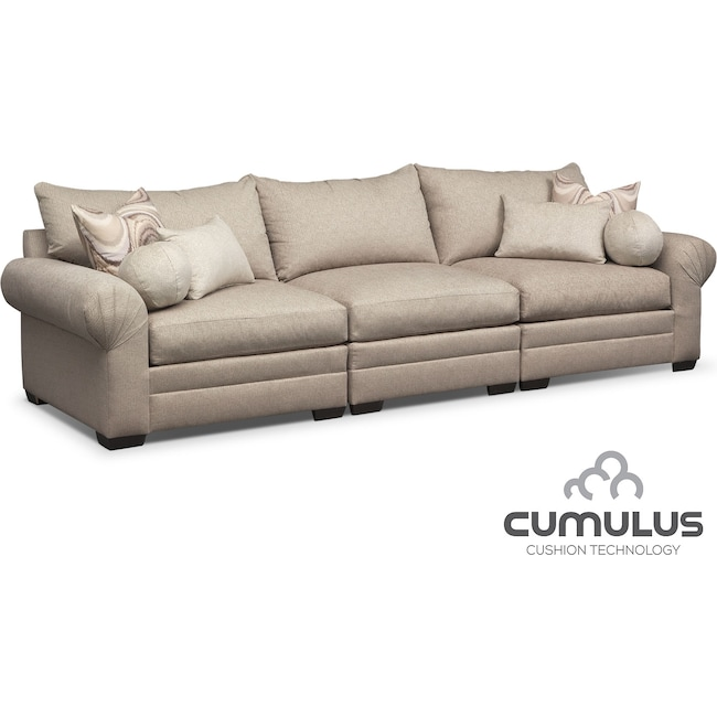 Living Room Furniture - Wilshire 3-Piece Sectional - Cream