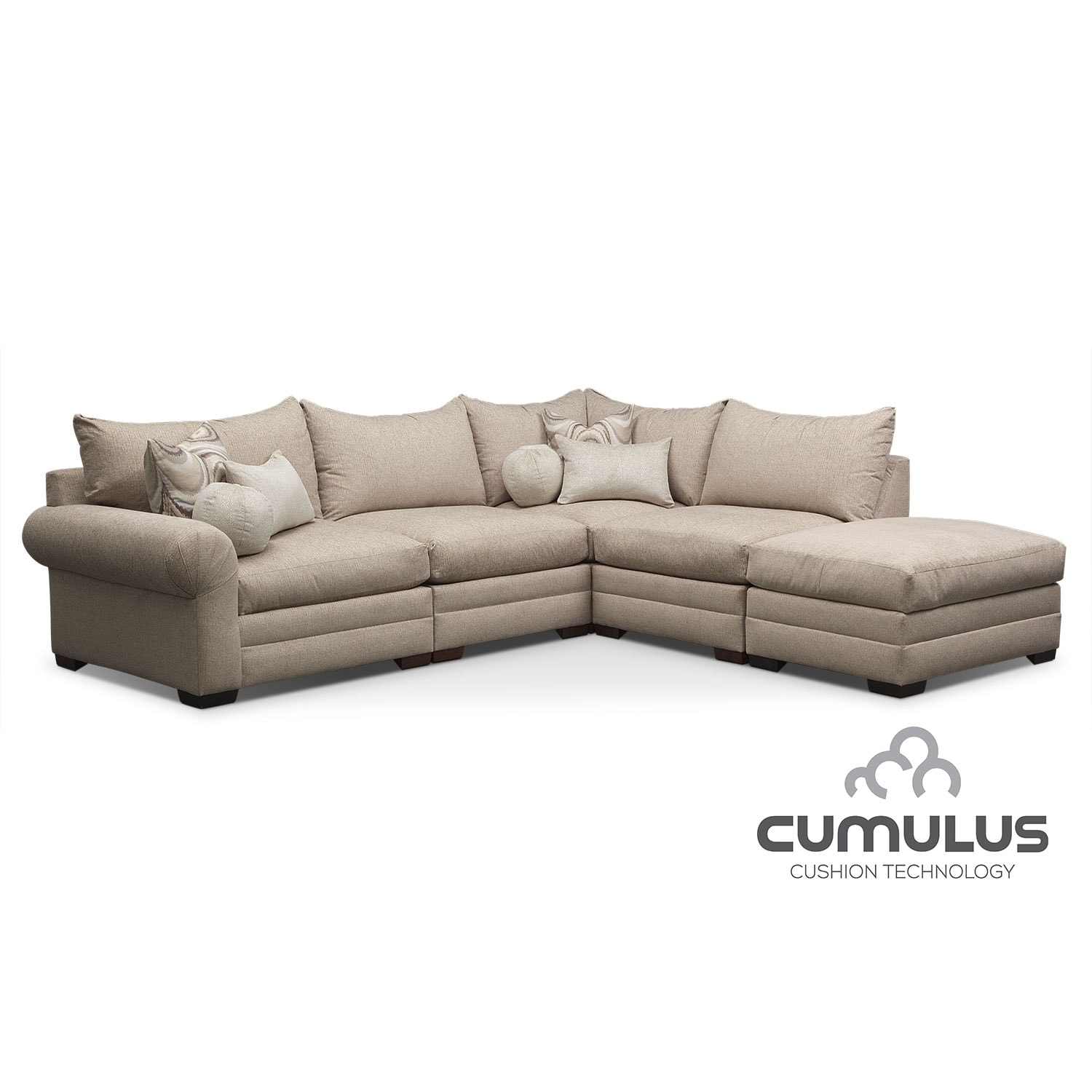 Wilshire 5-Piece Right-Facing Sectional - Cream