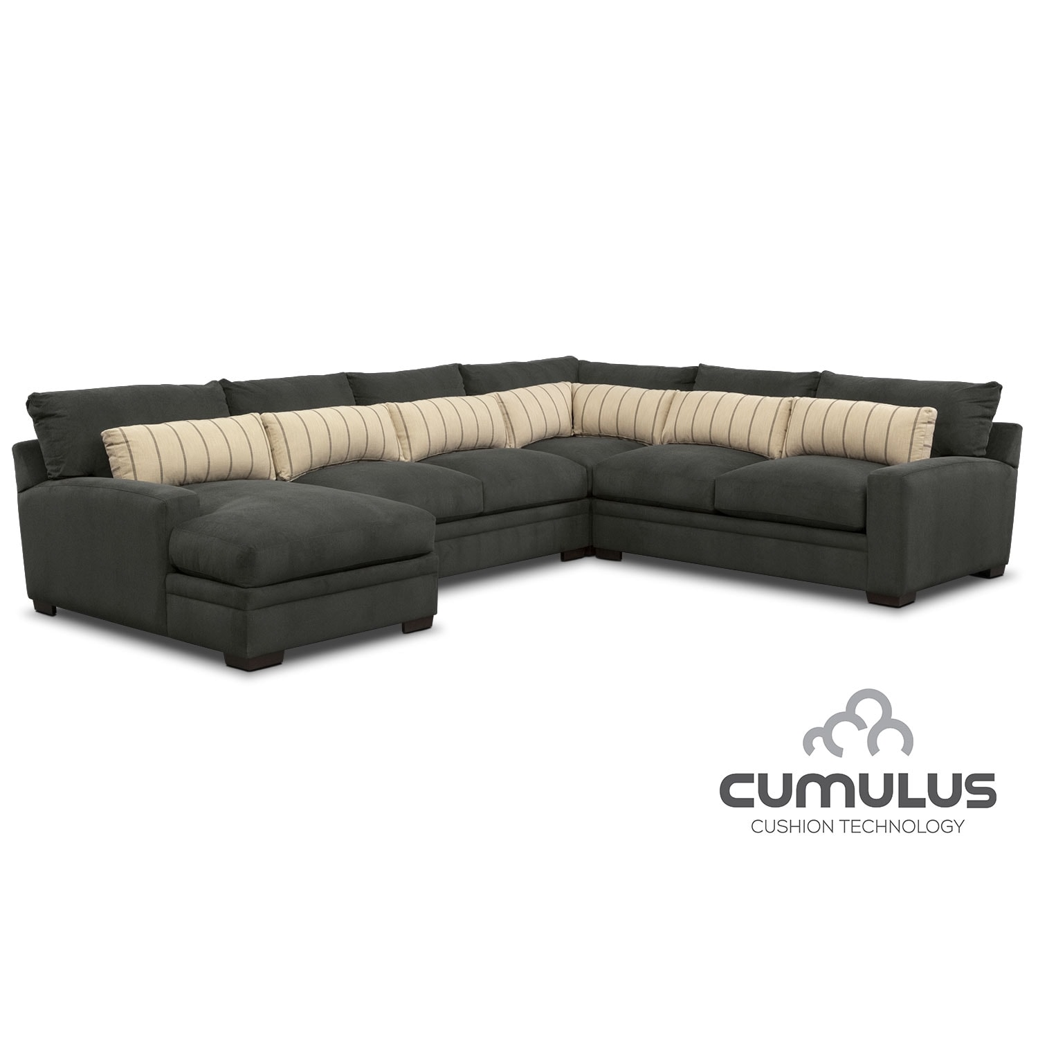 Ii 2 pc sectional and swivel chair american signature furniture - Ventura 4 Piece Sectional With Left Facing Chaise Charcoal