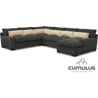 Ventura 4-Piece Sectional with Right-Facing Chaise - Charcoal