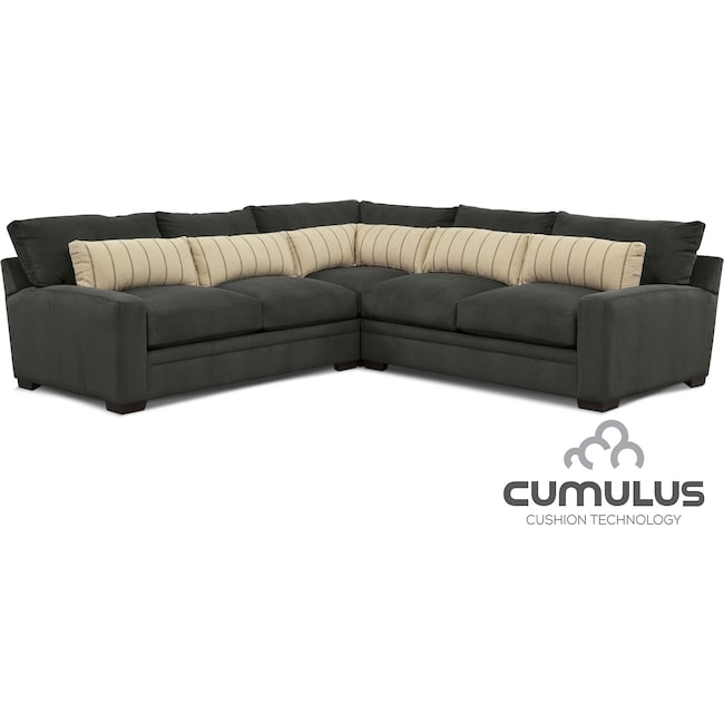 Living Room Furniture - Ventura 3-Piece Sectional - Charcoal