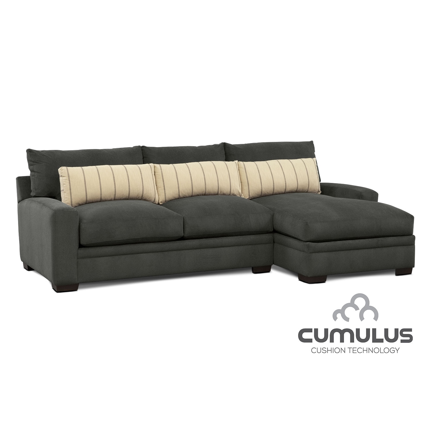 Ventura 2-Piece Sectional with Right-Facing Chaise - Charcoal