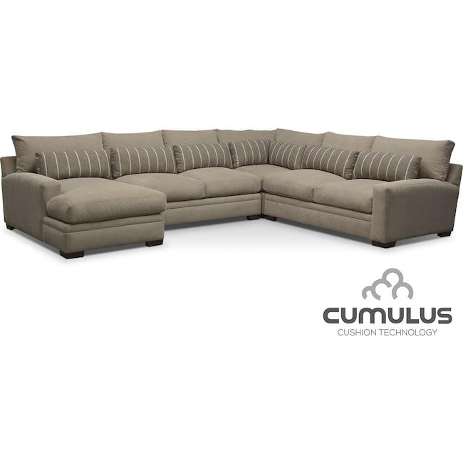Living Room Furniture - Ventura 4-Piece Left-Facing Sectional - Buff