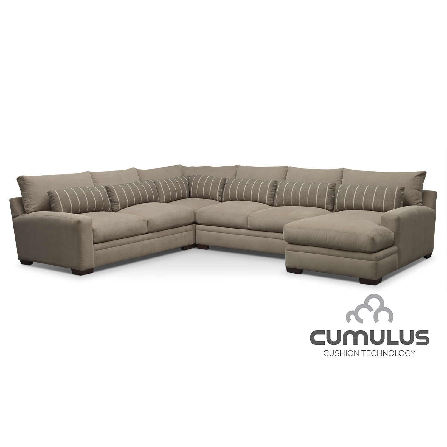 American Signature Furniture Sectionals #17: Living Room Furniture - Ventura 4-Piece Right-Facing Sectional - Buff