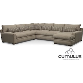 Ventura 4-Piece Right-Facing Sectional - Buff